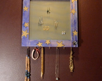 Mirrored Earring Organizer, Starry Night, Wood Burned, jewelry storage, 18K gold, Blue, vanity, necklace hanger, wall mount (Patent Pending)