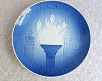 B&G Plate - Olympic Games Munich - 1972 - Blue Decorative Christmas Plate