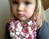 Child's Scarf - Infinity Scarf - Handspun Art Yarn - Hot Pink & White - Shabby Chic - Photo Prop