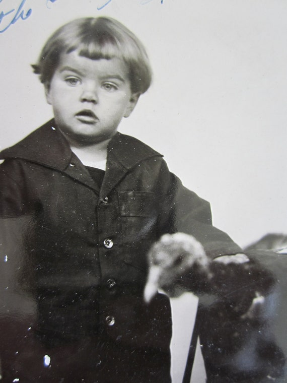 Vintage Photograph of Adorable Boy with Turkey
