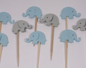 24 Blue & Gray Elephant Cupcake Toppers/Food Picks/Party Picks/Baby Shower/Supplies No. 109