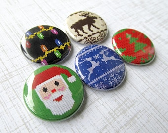 Ugly Christmas Sweater Pins Set of 5 Pinback Button or Magnet Party Favor Gag Gift Decoration