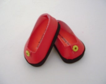 Red Faux Leather Ballet flats with Yellow Rivet Trim