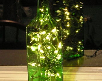 Square Olive Oil Bottle Light with white lights inside - plug-in