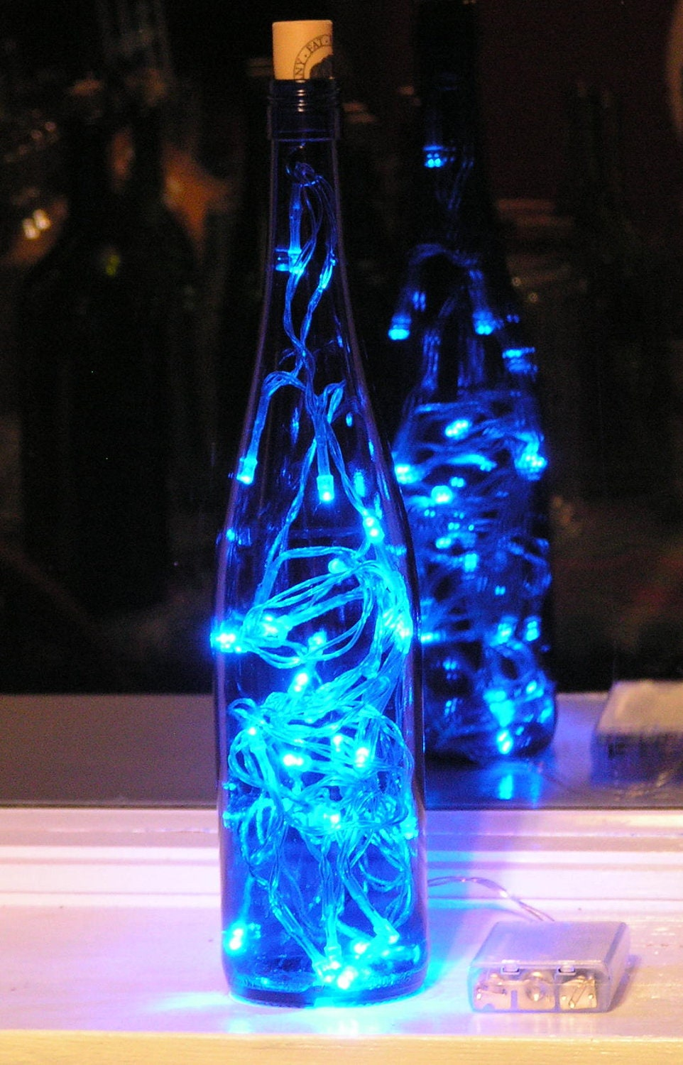 Blue Wine Bottle Light with Blue LED lights Battery Operated