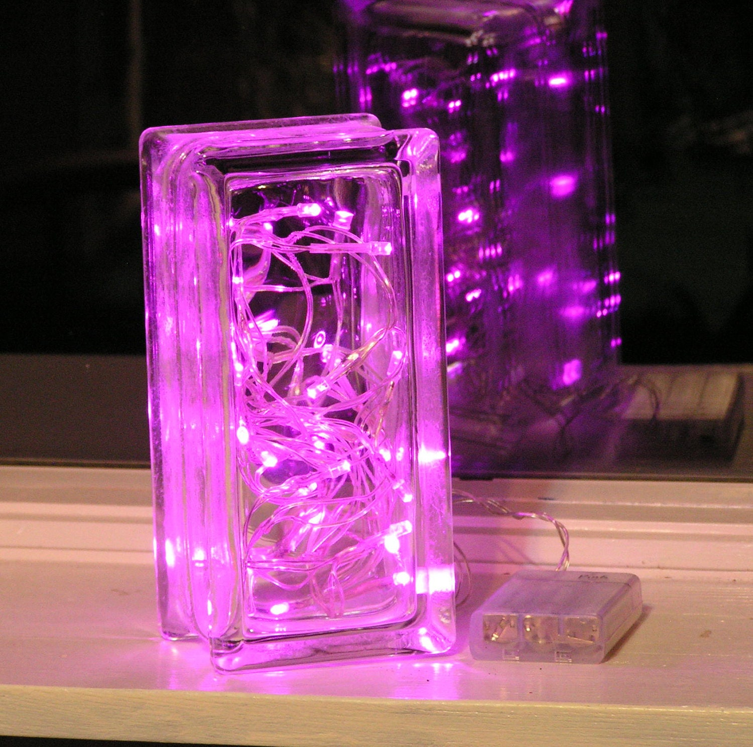 beautiful glass block light with pink led lights by vtbrownjs. Black Bedroom Furniture Sets. Home Design Ideas