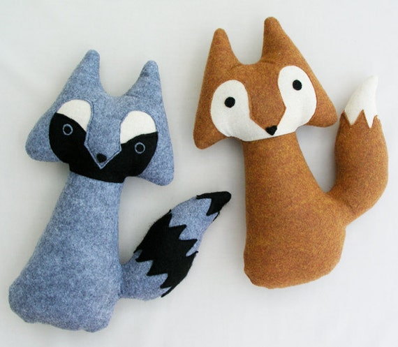 fox and raccoon - woodland stuffed animal pair