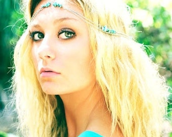 Silver Genuine Turquoise Head Chain, Chain Head Piece, Hair Jewelry, Chain Headband, Chain Headdress