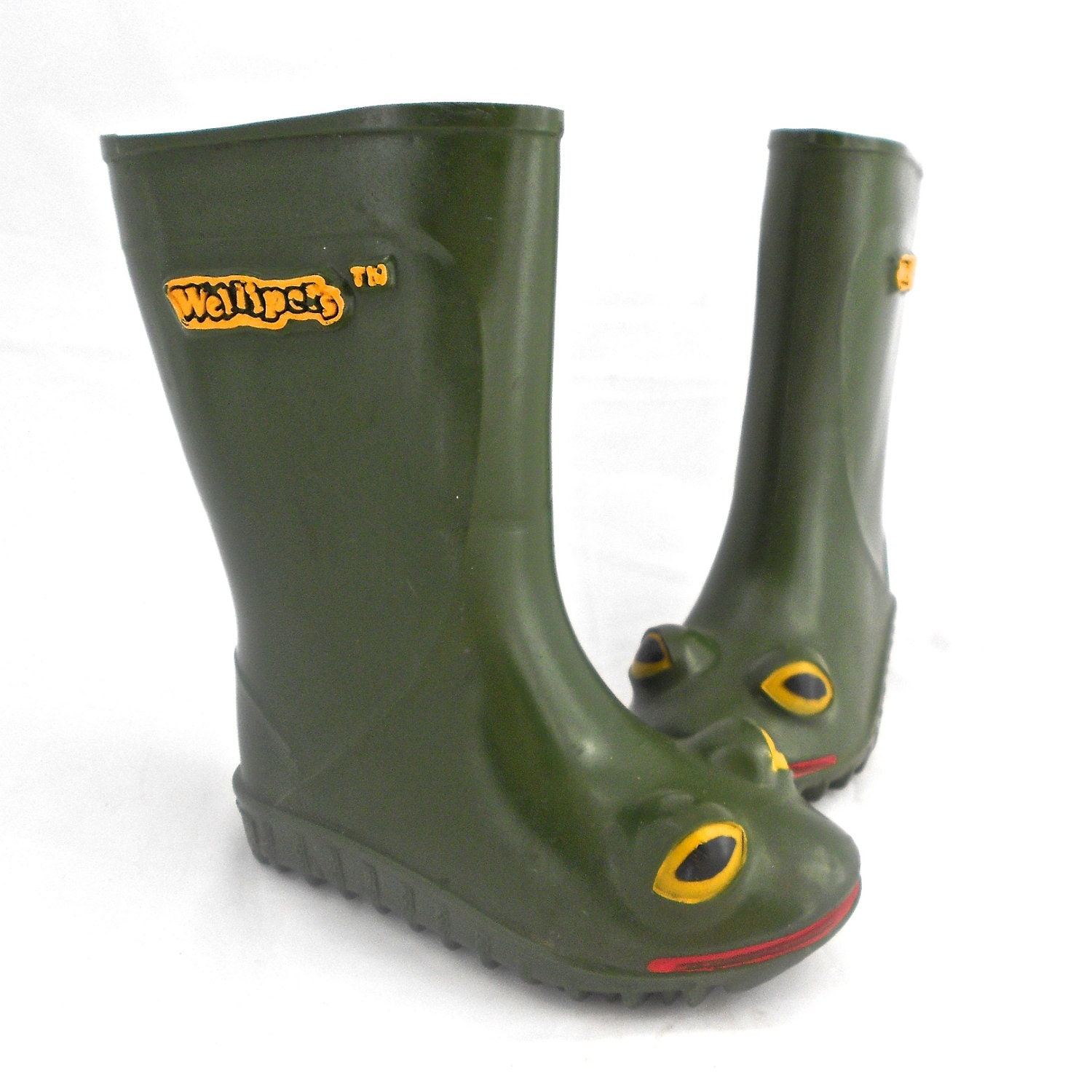 Original Childrens WelliPets Green Frog Rain Boots TREASURY
