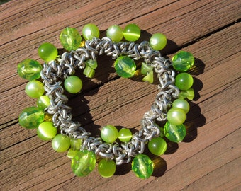 Vintage Bracelet, Simple Link Chain, Flexible Strap, Green Beads, Plastic and Glass