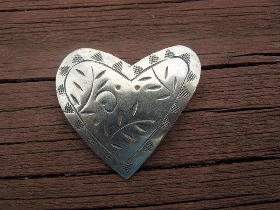 Vintage Heart Brooch Possibly Hand Made, Decorated Metal Design