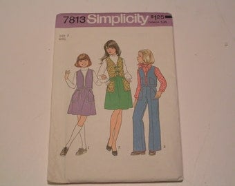 Vintage Simplicity Pattern 7813 Girl Vest Skirt Pants