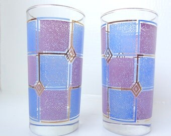 Mid Century Modern Retro Purple & Periwinkle Drinking Glasses, Cocktail Glases, Tumblers- Set Of Two