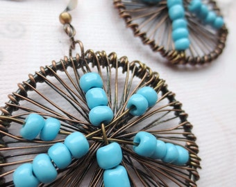 Round Earrings- Blue and Copper Wire Earrings, Wire Wrapped, Wire Jewelry, Beadwork