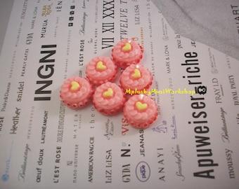 Flatback Pink Cake Cabochon 2pc 15mm