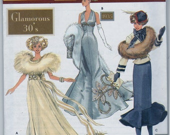 Simplicity Couture Doll Clothing Patterns Doll Collectors Club Glamorous 30s  - 11.5 Fashion Doll Patterns - 1932 & 1935 Gowns - 1938 Outfit