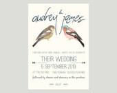 Customised Printable Wedding Invitation - Love Birds