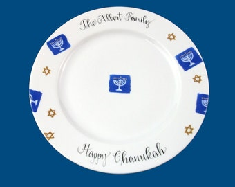 Personalized Hand Painted Porcelain Chanukah Plate