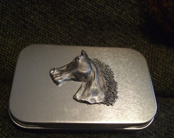 Running horse metal pocket stash tin with hand sculpted pewter horse. treasure box home roller cigarette tin pocket size