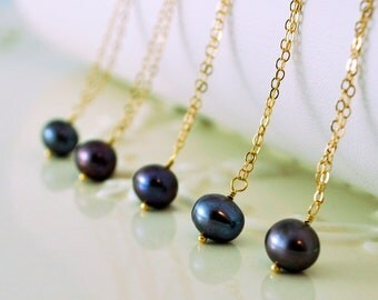 Charcoal Grey Freshwater Pearl Bridesmaid Necklaces Gold Vermeil or Sterling Silver Wedding Jewelry Free Shipping