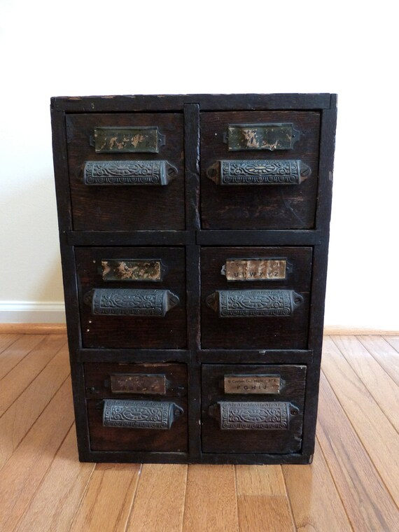 Antique Letterpress Cabinet - Printers Type Set 6 Drawer with Brass Pulls Apothecary
