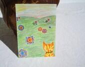 Orange tabby cat art original drawing 5 x 7 - kitty in flower field
