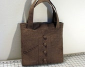 Small Tote Bag with Buttons in Brown