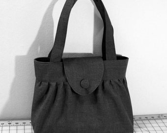 Pleated Handbag with Flap Closure in Dark Gray