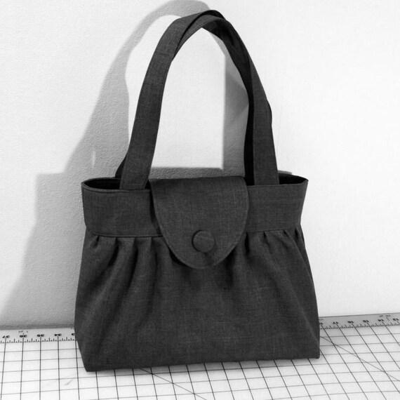 Pleated Handbag with Flap Closure in Dark Gray