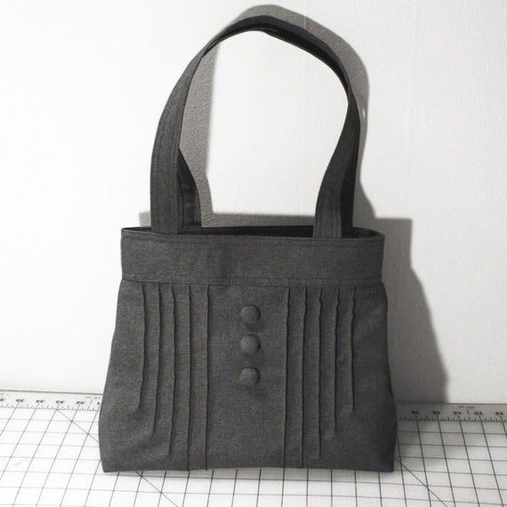 Pintuck Purse with Buttons in Dark Gray
