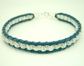 Row crystal ball bracelet sterling silver closure.