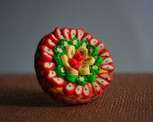 FRUIT TART RING - customizable adjustable - Totally handmade Polymer clay tart with four rounds of fruit slices