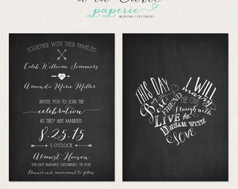 This day I will marry my best friend Chalkboard Inspired Wedding Invitation Card