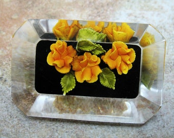 Lucite Reverse Carved Orange Roses Brooch Pin