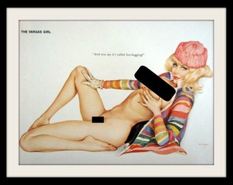 "VARGAS Girl Buxom Blue Eye Blonde Pin Up ""Hot Dogging"" Vintage Nude Art Wall Decor Print, Mature"