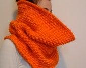 Orange crocheted infinity scarf - chunky, washable