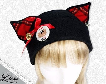 Cat Kitty Fleece Hat  Anime Cosplay Pancake Panda with Bow/Bell
