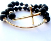 Gold sideways cross bracelet and bar set, Black Friday, matte black onyx