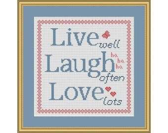 Live Laugh Love - PDF Cross Stitch Chart