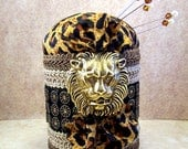 Gorgeous arty needlecraft pincushion Lion King jungle African tribal cheetah print black gold lopard decorative straight pins tagt tenx