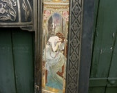 Art Nouveau Cast Iron Fireplace Fire Surround with Mucha 1899 Nights Rest Tiles
