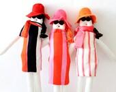 Custom handmade fabric doll from 'La dolce vita' ed., ooak glamour stuffed doll, fashionable cloth doll, retro soft toy, nursery decoration