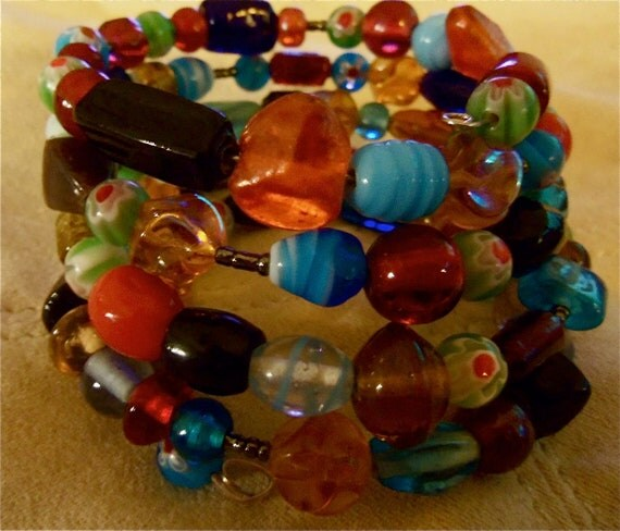 Muti Colored Glass Bead Memory Wire Bracelet