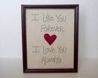 Primitive Picture  I like you forever , I love you Always 8X10