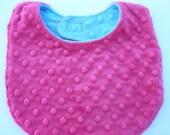Reversible Bib - Fuchsia Pink & Turquoise Double Minky Baby