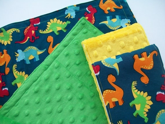 Dino Roar Burp Cloths and Security Blanket Gift Set