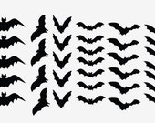 Halloween Decor Scary Black Bats Decal Set of 34