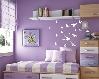 "Flock of Birds Flying Angry Pigeon Wall Nursery Decal Highly Detailed  Birds 1169 34"" wide x 28"" high"