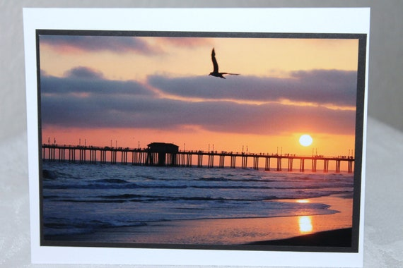 photo card, sunset, Huntington Beach, California, beach, orange, ocean