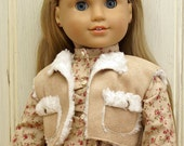 American Girl Doll Clothes-Floral Top with Sherpa Vest and Skinny Cord Pants